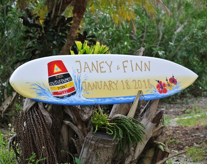 Wedding Surfboard Sign, Newlywed Christmas Gift Idea for Couple, Southernmost point Key West sign