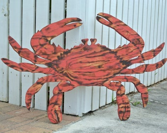 Large Red Crab Decor, Wood Crab Wall Art, Housewarming Gift idea, Beach House Decor