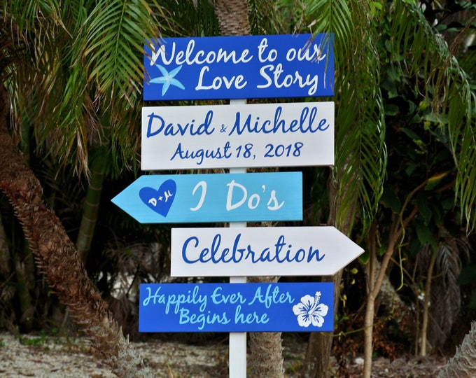 Wedding Welcome to our Love Story Sign, Royal Blue Beach Wooden Decorative sign,  Nautical Directional Signage, Wood Arrows, Couples gift