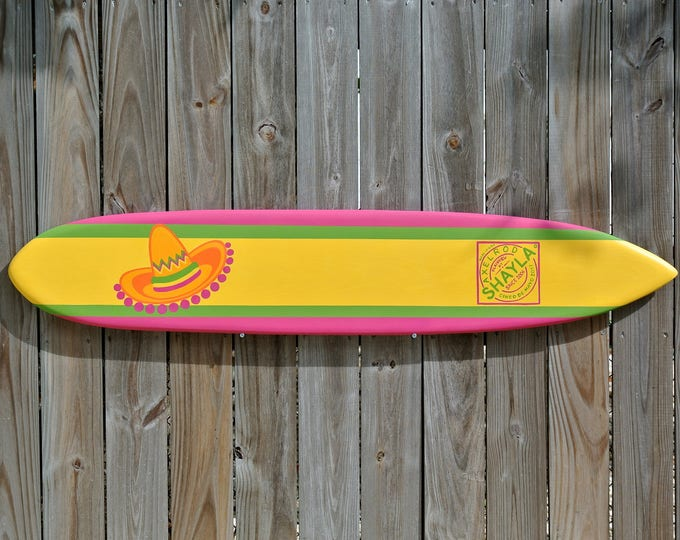 Cinco de Mayo Decoration Sign In Board Book. Wood Surfboard Guestbook.