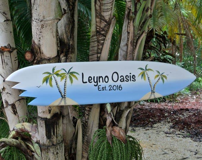 Unique Family name surfboard sign. Wood Tiki bar decor. Housewarming gift idea. Beach house pool deck sign.