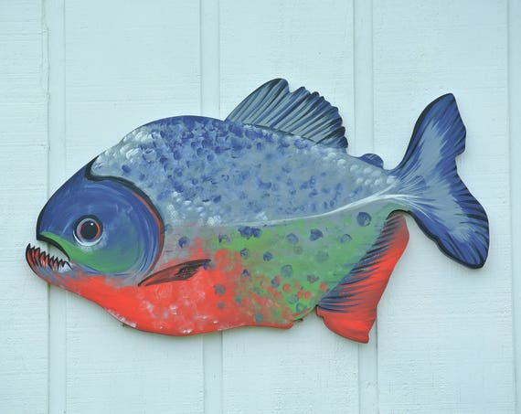 Gift for dad, Red Bellied Piranha Wildlife art, Coastal Wood sign, Wall Hanging Decorative Fish, Fisherman gift, Man Cave decor