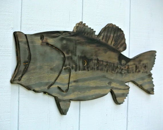Family gif, Large Bass Fish Wall Decor, Wooden Bass Fish Wood burning sign, Gift for Dad Man Cave decor, Housewarming gift idea