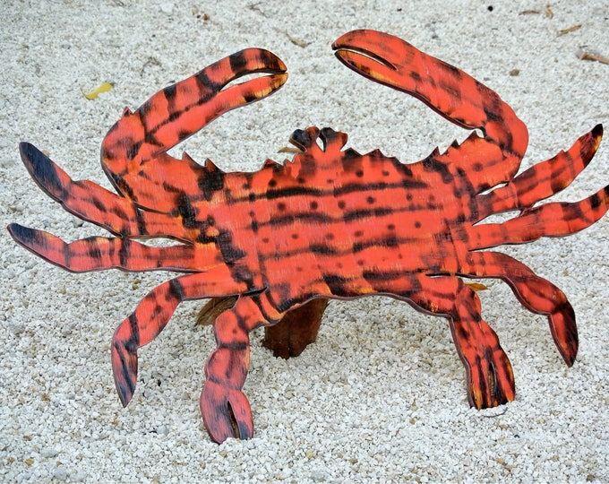 Large Wooden Red Crab Decor, Rustic Wood Crab Wall Art, Family Gift idea, Wood Outdoor beach sign