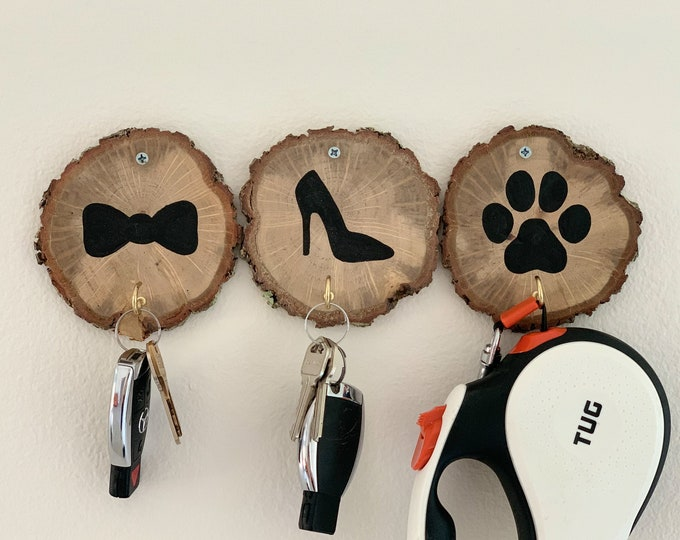 Wooden key holder. Funny key hook. Dog lover gift.