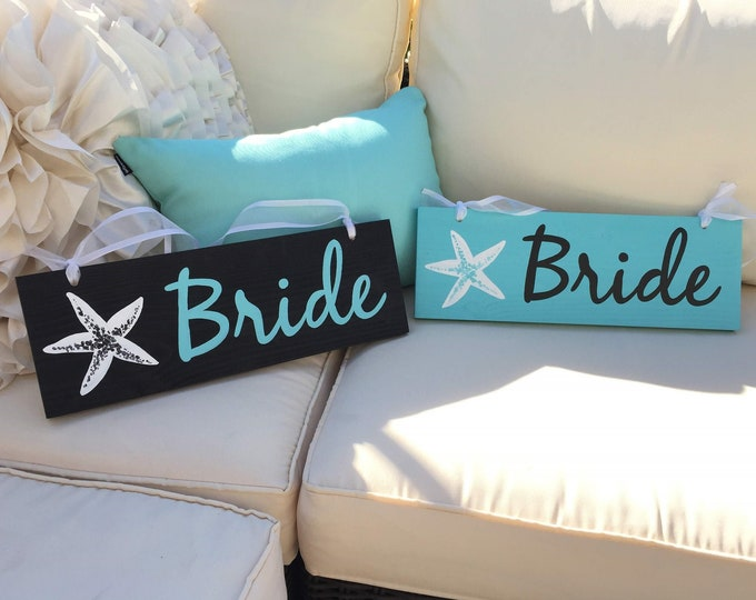 Bride and Groom wood signs for Chair. Tropical Wedding decor