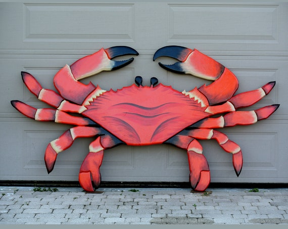 "Chinese restaurant decor Large wood crab 94"" x 44"" sign outdoor. Gift for business owner"