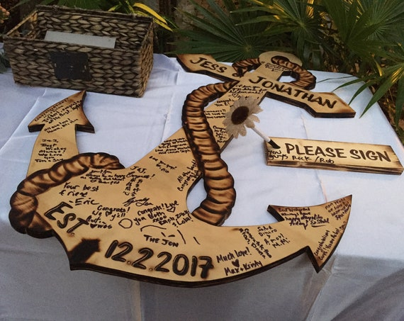 Wood guest book alternative. Rustic wedding decor. Anchor sign. Personalized gift for couple.
