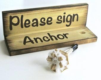 Wood Pen Holder Set Guest book, Rustic wedding decor