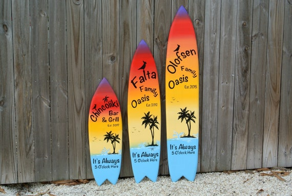 Family Oasis Surfboard wood sign. Home bar decor Outdoor. New House gift. It's Always 5 O'clock here