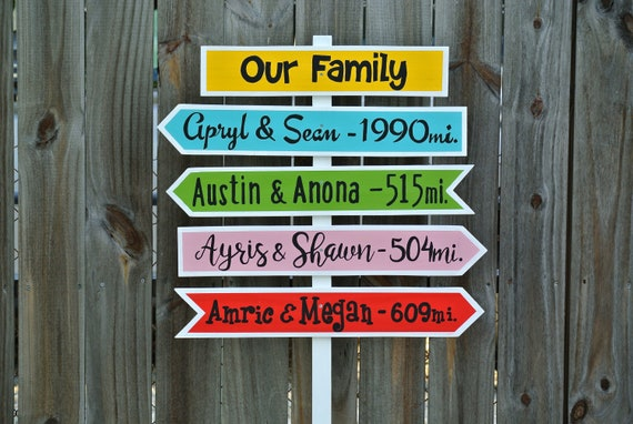 Our Family wood directional sign Garden decor sign post Personalized. Christmas Gift idea