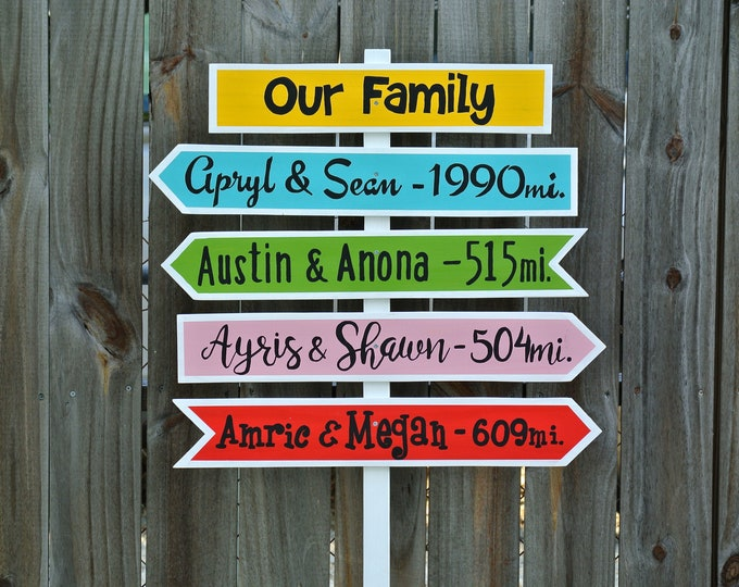 Our Family wood directional sign Garden decor sign post Personalized.  Gift idea