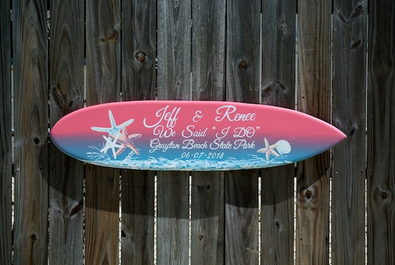 Sunset Wedding surfboard sign. Beach and Tropical decor. Personalized gift for couple.