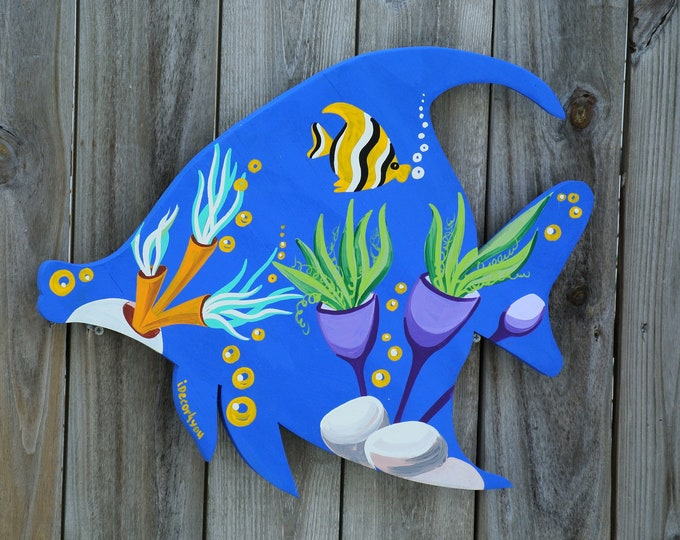 Tropical fish wall decor. Underwater wall art. Beach house decoration