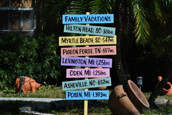 Personalized Family Vacations Directional Sign. Housewarming Gift for parents