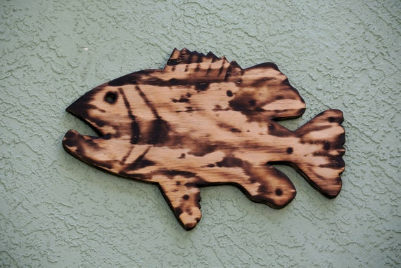 Rustic Fish Wall Art, Burnt Wood Goliath Grouper Beach House decoration