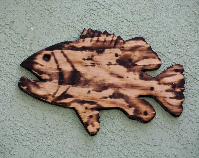 Rustic Fish Wall Art, Wood Goliath Grouper Beach House decoration