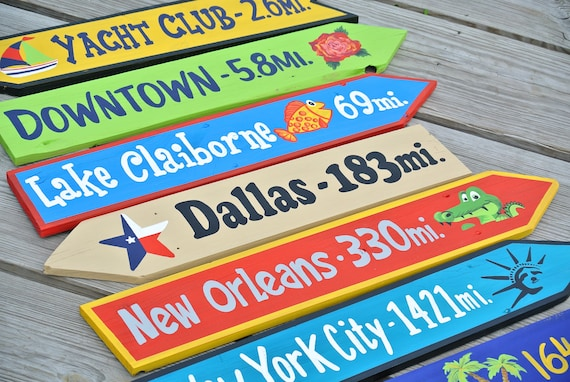 "Large Directional signs 25-35"" long. Family gift for Christmas. Garden decor arrow wood sign. Backyard decor."