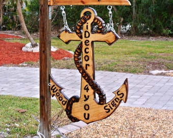 Personalized Entryway Anchor Welcome sign wood. Carved and Burnt Rustic Business Sign.