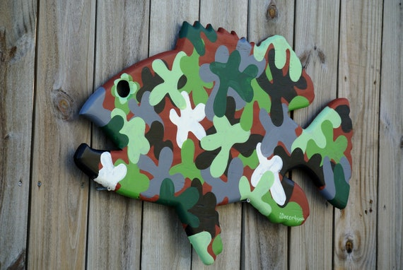 Grouper fish wall art. Camouflage Goliath grouper wall decor wood sign