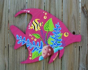 Underwater fish wall art. Tropical Fish wood wall art. Coastal Beach house decor.