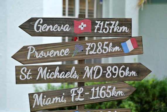 Rustic Directional sign. Family gift mileage sign post. Garden decor wood arrow signage. Gift for Dad Mom