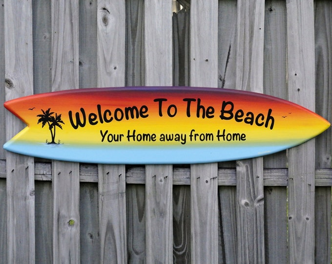Welcome to Beach House Surfboard wood sign. Home Bar decor for outside