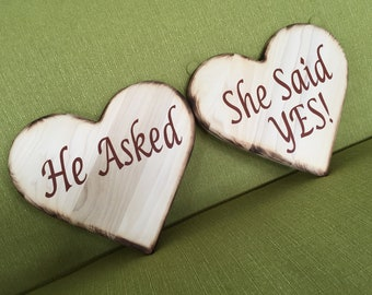 Engagement gift for couple. Wood Hearts. He Asked She said Yes.
