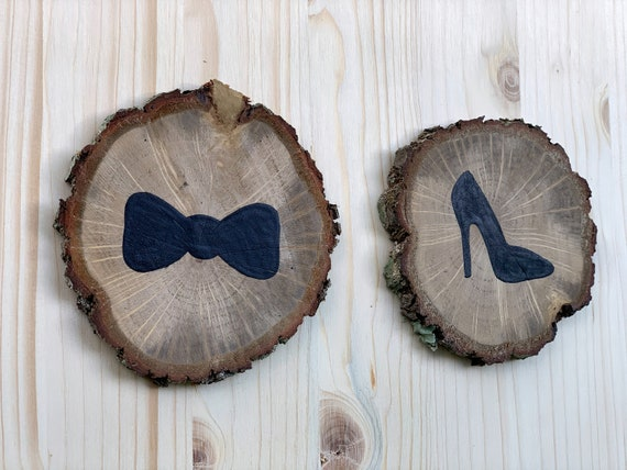 Restroom door sign. Funny bathroom decor. Wood bow tie and heel signs.