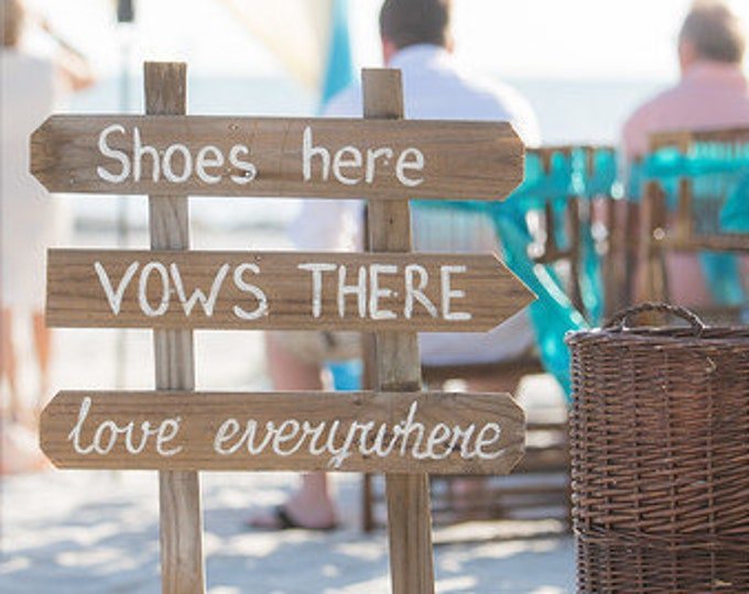 Newlywed Gift Rustic wedding sign. Shoes Here. Beach wedding decor