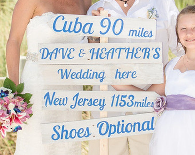 Rustic Chic Wedding Directional Sign, Beach Wedding Decor, Shoes Optional Sign, Custom Wedding Sign gift idea