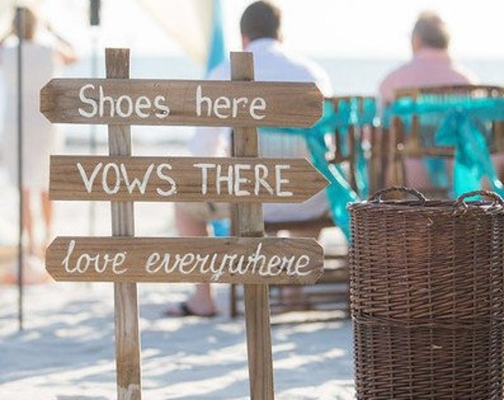 Family gift, Beach Wedding Rustic Decor, Shoes Here Vows There Love Everywhere wood signage for wedding, Wooden arrow gift sign