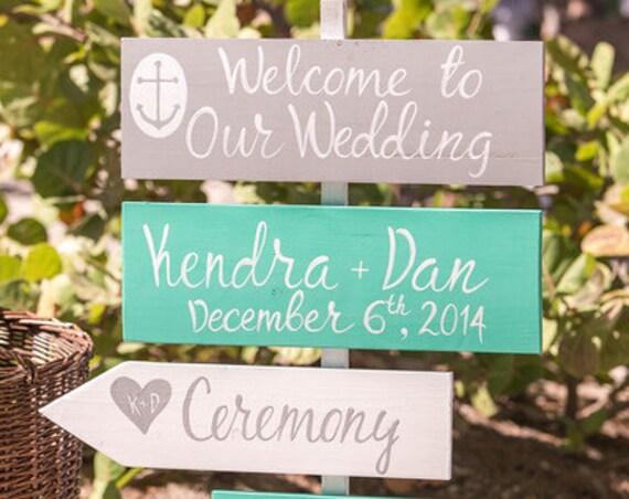 Turquoise wedding decor. Wedding direction sign for ceremony.
