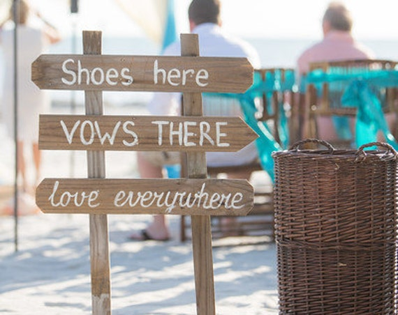 Rustic Beach Wedding Decor, Shoes Here VOWS There Love Everywhere Wedding Sign, Wood yard decor
