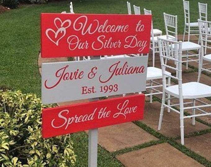 25th anniversary sign. Wedding welcome sign wood. Spread the love ceremony decor. 25 anniversary gift for couple
