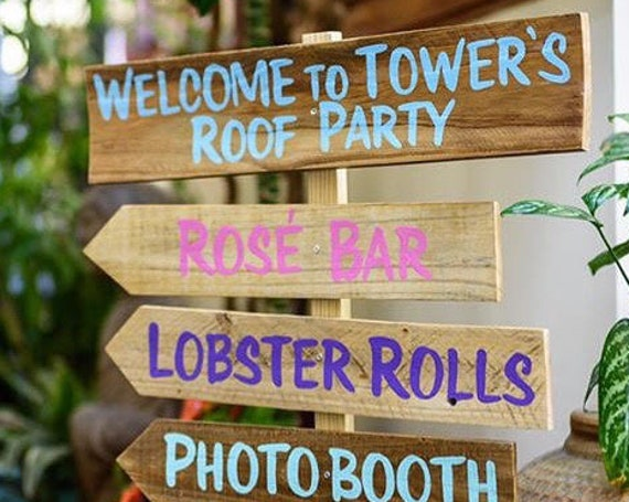 Event signage. Wood direction sign for Party decor. Rustic.