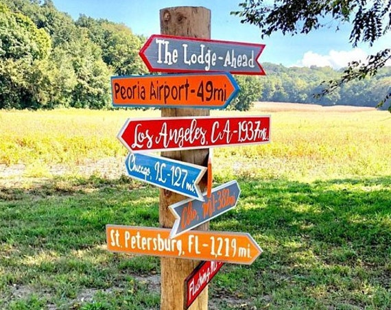Our Family gift. Directional Yard Sign Wood. New Home Housewarming gift idea. Wood yard decor