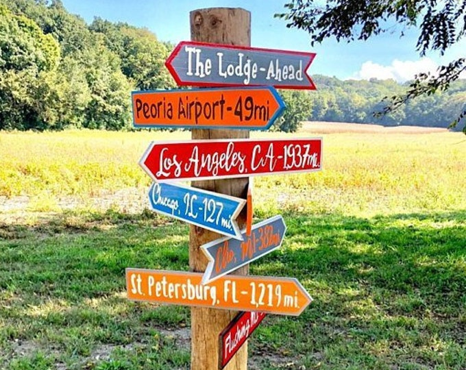 Our Family gift. Directional Yard Sign Wood. New Home Housewarming gift idea.