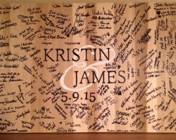 Wood Guest book Alternative Wedding Guestbook signature board for event. Comes with matching pen!