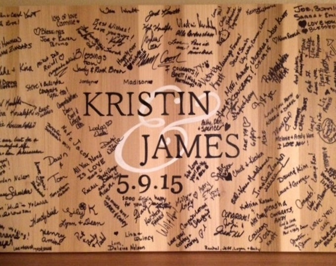Wood Guest book Alternative/Wedding Guestbook signature board for event. Comes with matching pen!