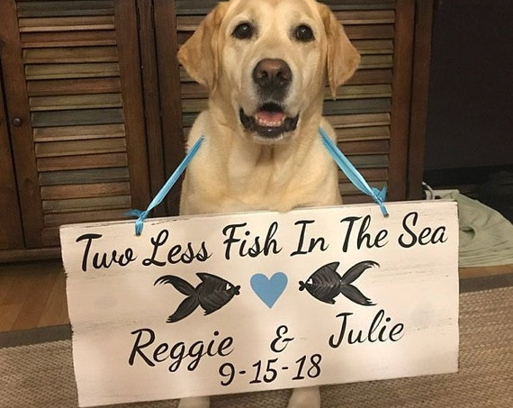 Beach Wedding Sign, Two Less Fish In The Sea gift for couple, Heart wedding sign