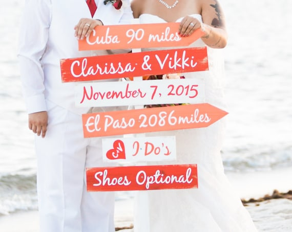Wedding gift, Coral Directional Signage for Wedding, Beach Wedding Decor Gift, Shoes Optional I Do's Ceremony Sign, Yard decoration sign