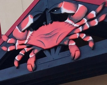 "Seafood Restaurant Large  94"" x 44"" Red Crab sign. Crab Shack Wooden 3D sign. Restaurant decor. Custom sign"