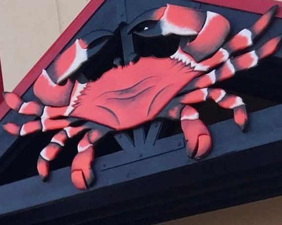 Seafood Restaurant Decor. Red Crab Shack Wooden sign.