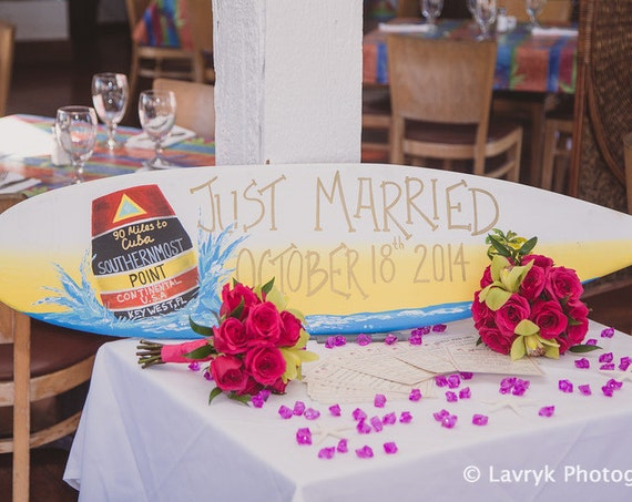 Just Married Wedding Surfboard Wood Sign, Key West decor