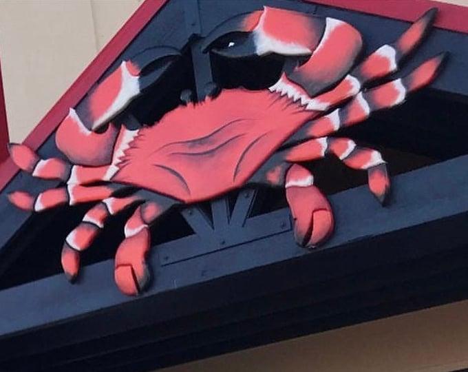 "Restaurant Wood 94 x 44"" Red Crab sign. Crab Shack Wooden 3D sign. Restaurant decor. Custom sign"