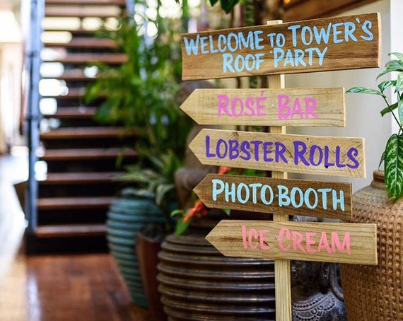 Party Directional Sign. Destination signpost Garden decor. Event decoration wood sign