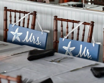 Mr and Mrs wood signs for Chair. Wedding decor