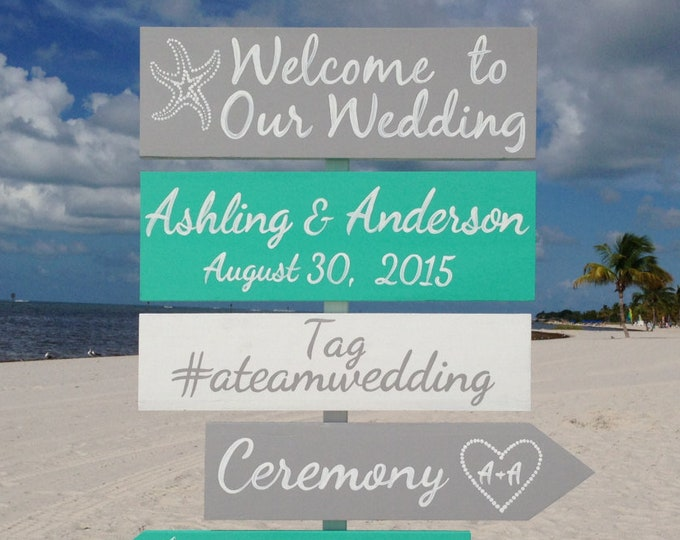 Wedding welcome sign, Aqua Beach Wedding Decor, Shoes Optional Ceremony Sign, Wedding Gift For Couple