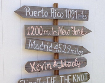 Gift Rustic Wood Destination Signs, Garden Decor, Housewarming Gift